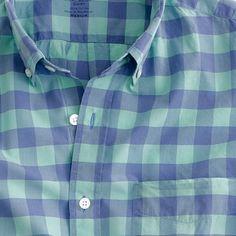 Lightweight short-sleeve shirt in mint gingham - short sleeve shirts - Men's shirts - J.Crew
