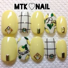 Lemon yellow plaid studs nail