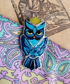Stained Glass Brooch  Pin  Royal owl Glass от TheStainedGlassCo