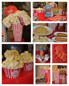 Dumbo Disney Dinner and a Movie Night Party. We had circus food; veggie corn dog, watermelon on a stick, corn on the cob on a stick, elephant's food (haystack potatoes) & cream soda I added circus labels to. For dessert; one child had a clown sundaes & the others wanted a popcorn cupcake (toasted marshmallows). For snack during the movie we had Mrs. Jumbo's roasted peanuts, pink elephants on parade (pink elephant animal crackers) or popcorn.