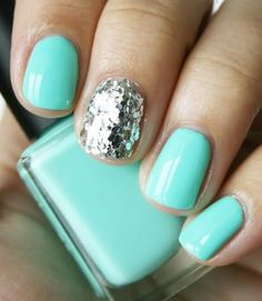 bright blue nails and silver glitter