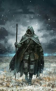m Warlock Studded Leather Armor Cloak Staff Bag male Farmland evening story lg Fantasy Character Design, Character Concept, Character Inspiration, Character Art, Concept Art, Fantasy Armor, Medieval Fantasy, Dark Fantasy Art, Fantasy Art Warrior