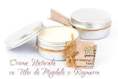 CREMA VEGETALA 100% NATURALA cu ULEI MIGDALE si ULEI ESENTIAL ROZMARIN – 15 lei  Crema pentru fata si corp realizata manual din uleiuri si unturi vegetale. Revigoranta, antirid, relaxeaza si hraneste pielea. Recomandată pentru toate tipurile de piele. Contine: ulei migdale, unt cocos, ceara de albine, vitamina E, apa purificata si ulei esential de rozmarin. Nu contine conservanti, coloranti, grasimi animale, parfumuri artificiale sau aditivi chimici.  Cantitate 50g - 15 lei Handmade Cosmetics, Fragrance, Soap, Place Card Holders, Vegan, Natural, Soaps, Perfume, Au Natural