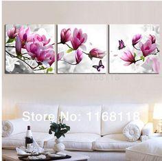 3xpurple pink flower Home Decorative Art Picture Paint on Canvas Prints unframed