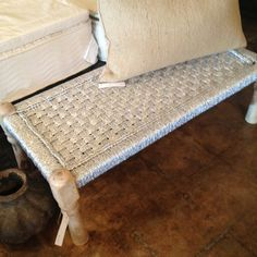 Silver spray paint a bench or side stool or basket