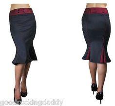 Wiggle Fishtail Rockabilly, Vintage, Swing, Retro, Plus Size Skirt