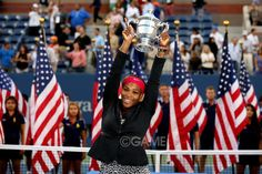 - The media photographs #SerenaWilliams of the United States as she celebrates with the trophy after defeating #CarolineWozniacki of Denmark to win their women's singles final match on Day Fourteen of the #2014USOpen at the USTA Billie Jean King National Tennis Center on September 7, 2014 in the Flushing neighborhood of the Queens borough of New York City.