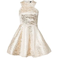 Ax Paris Brocade Print Metallic Skater Midi Dress ($48) ❤ liked on Polyvore featuring dresses, gold, party dresses, womens-fashion, metallic cocktail dress, white midi dress, midi skater skirt, midi skater dress and white flared skirt