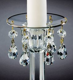 Bobeche - Six Crystals with Silver Rim (Each) | CapeCandle.com