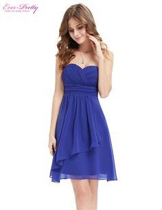 Bridesmaid Dresses Ever Pretty HE03540SB Wedding Blue Sweetheart Neckline Strapless Short 2017 vestidos Women Dresses