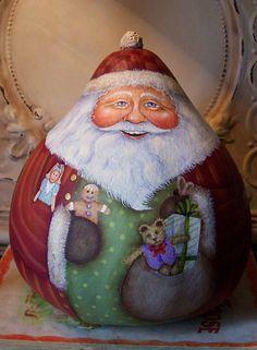 Santa Folk Art Noël Original One d'une aimable par FolkArtByPenny