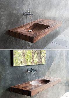 Bathroom Design Idea – Install A Wood Sink For A Natural Touch - Bathroom Design Idea – Install Wood Sinks For A Natural Touch - Bathroom Sink Design, Wooden Bathroom, Small Bathroom, Bathroom Sinks, Natural Bathroom, Bathroom Ideas, Bathroom Layout, Bathroom Makeovers, Budget Bathroom