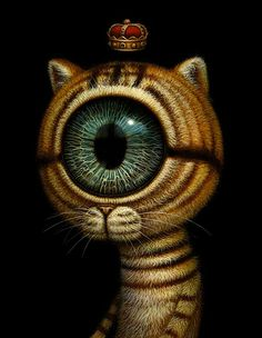 The Royal Cats Eye, illustration by Naoto Hattori. He should have been told that all drugs are poisons and whatever he is ingesting, injecting,or sniffing is frying his cerebral cortex. Looks like Dali on crystal meth. Psychedelic Art, Arte Lowbrow, Surrealism Painting, Arte Horror, Eye Art, Japanese Artists, Surreal Art, Fantasy Art, Cool Art