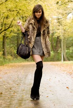 gray skirt with boots