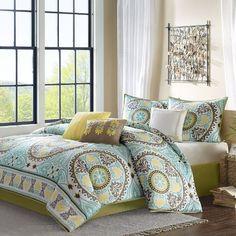 Madison Park Samara 7 Piece Comforter Set - Blue - Queen