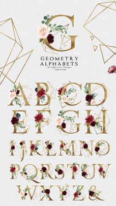 Burgundy&Navy Floral Graphic Set by Graphic Box on Creative Market Watercolor Flower Wreath, Watercolor Flowers, Vegetal Concept, Floral Frames, Alphabet, Wedding Clip, Watercolor Texture, Arte Floral, Vintage Paper