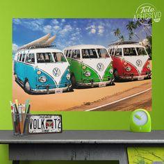 Vinilos Decorativos: Poster Adhesivo 3 furgonetas Bully #poster #furgoneta #t1 #t2 #volkswagen #hippy #lámina #vinilo #TeleAdhesivo Volkswagen California, Pallet Signs, Camper, Surfing, Hippy, Vans, Cartoon, Vintage, Poster