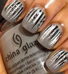 Monotone Waterfall manicure - grey base coat, black & white lines with silver glitter | by Marisa from Beautylish