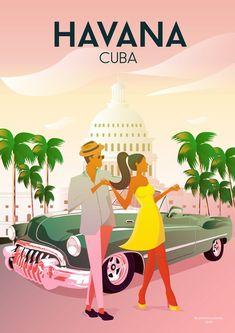 Havana Cuba Desert Vintage Travel Poster Home & Living | Etsy
