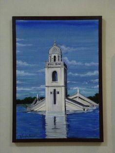 Torre da igreja matriz da velha São Rafael sendo coberta pelas águas da barragem armando Ribeiro gonsaves AST 50X70