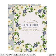 Rustic Floral Wreath Bridal Shower Invitation