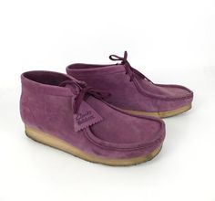 Clarks Wallabee Shoes Oxford Wedges Vintage 1980s Lace Up Purple Leather men's size 9 1/2 on Etsy, $88.00