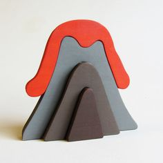 Wooden Volcano Stacker Waldorf Toy Ecofriendly by Imaginationkids, $14.00