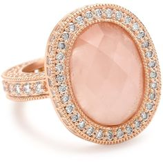 "Belargo Jewelry ""Blush"" Collection Rose Quartz Pave Edge Ring ❤ liked on Polyvore"