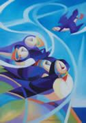 puffin paintings by Alison Ingram