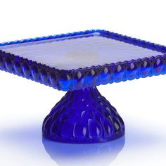 """Cobalt Blue 10"""" Square Glass Stand"""