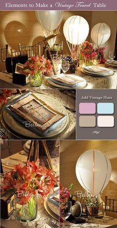 Vintage travel themed wedding--can also be for a bridal shower theme.