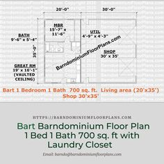 $595.Bart 35′ x 20′ – 1 bedroom – 1 bathroom (700 sq ft) with Lundry closet. We sell semi-custom Barndominium floor plans and provide helpful tips to design and build your home whether it is DIY or you are paying a company. #architecture #barndominiums #home #modernbarn #barnhomefloorplans #beautifulbarn #homefloorplan #barnhomedesign #housedesign #barndominiumfloorplans #floorplan #dreambarn #barnhouse #barndominiumliving #barndominiumdesign #barn #barns #laundrycloset #laundryspace