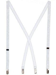 Unisex Glitter Suspender Silver - American Apparel