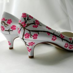 Wedding Shoes painted Cherry blossom watermelon by norakaren, $225.00