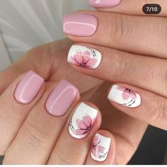 nail art designs for spring \ nail art ; nail art designs for winter ; nail art designs for spring ; Fall Nail Art Designs, Flower Nail Designs, Short Nail Designs, Cool Nail Designs, Acrylic Nail Designs, Acrylic Nails, Coffin Nails, Nails With Flower Design, Light Pink Nail Designs