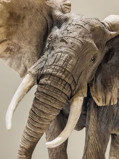 #Ceramic #sculpture by #sculptor Nick Mackman titled: 'African Elephant (Raku…