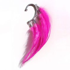 Ear cuff with hot pink feathers