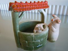 19th Century German Lucky Pigs Fairing ~ Mother Pig with Baby in Wishing Well | eBay