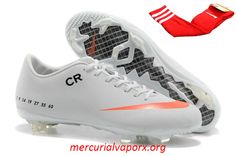 Nike Mercurial Vapor IX CR FG Boots - White Orange Sapatos b94e81d23fb9c