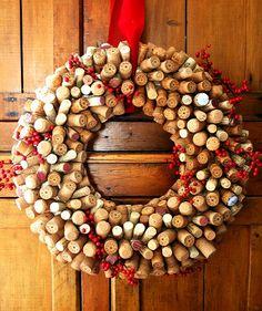 Unique christmas wreath ideas cork wreath cranberries DIY christmas decoration