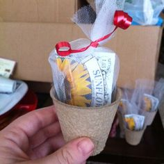 Sunflower Bridal Shower Favors | Sunflower growing kits for favors from the dollar tree!