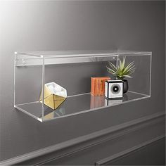 Or model car, picture frame. Perfectly see-through, clear acrylic disappears on the wall to float objects and collectibles. Easy access design makes it a snap to switch out the show. acrylic storage shelf is a exclusive. White Wall Shelves, Gold Shelves, White Floating Shelves, Wall Mounted Shelves, Storage Shelves, Cube Shelves, Display Shelves, Display Case, Storage Organization