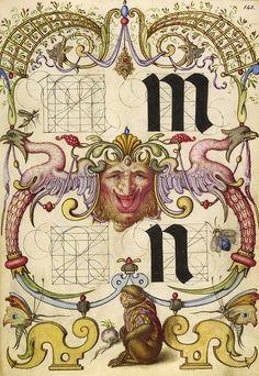 010- Fol 145-Guia para la construcción de la m y n minusculas- Mira Calligrafhiae monumenta- Joris Hoefnagel- Getty Museum. - Cesar Ojeda
