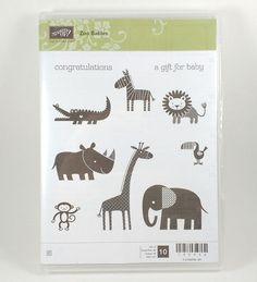 Stampin Up ZOO BABIES Clear Mount Stamp Set Baby Shower Newborn Animals…