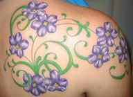 Violet Flower Tattoos | Violet flowers tattoo for mom with Johnny jump ups instead
