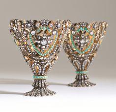 An Ottoman gold and jewelled coffee cup holder (Zarf), from the collection of Sadberk Hanım Museum