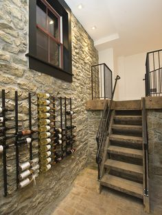 Mounted wine racks.