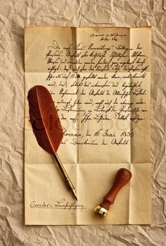 Stock photo ✓ 11 M images ✓ High quality images for web & print | Old letter with vintage feather quill