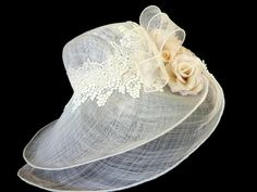 "Kentucky Derby Hat, Sun Hat, Summer Hat, Race Day Hat, Easter, Garden, Tea Party Hat in Ivory White - ""ROMANCE"". $135.00, via Etsy. Tea Hats, Tea Party Hats, Tea Parties, Kentucky Derby Race, Race Day Hats, Derby Attire, Types Of Hats, Wedding Gloves, Summer Hats"