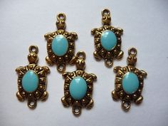 Buy Beads, Links, Charms, Gold Plated, Brass, Turtles, with Turquoise,(Imitation), 25x12mm, Pkg Of 3 by darsjewelrysupplies. Explore more products on http://darsjewelrysupplies.etsy.com